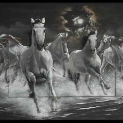 BACKAHAST (equine scandinavian legend) - pastel sec (soft pastel) - 50x70cm