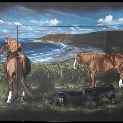 BAIE D'ECALGRAIN ET CHEVAUX (bay of ecalgrain and horses) - pastel sec (soft pastel) - 40x50cm