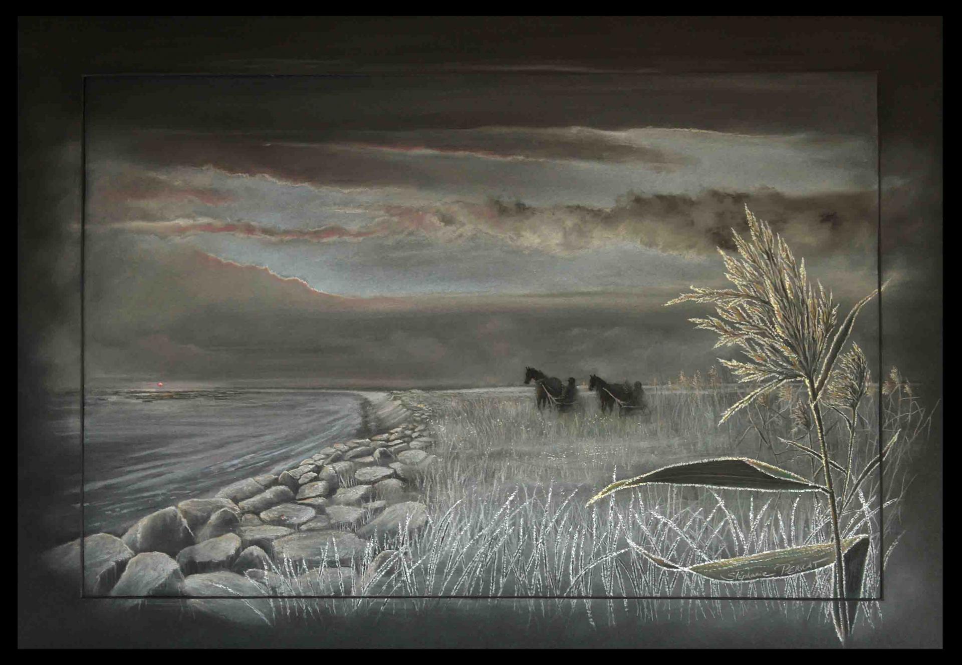 POINTE DE BREVANDS(50) avec trotteurs - pastel sec (soft pastel) - 50x70cm