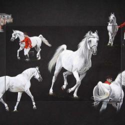 CHAMPI, ETALON NATIONAL (national stallion) - pastel sec (soft pastel) - 50x70cm