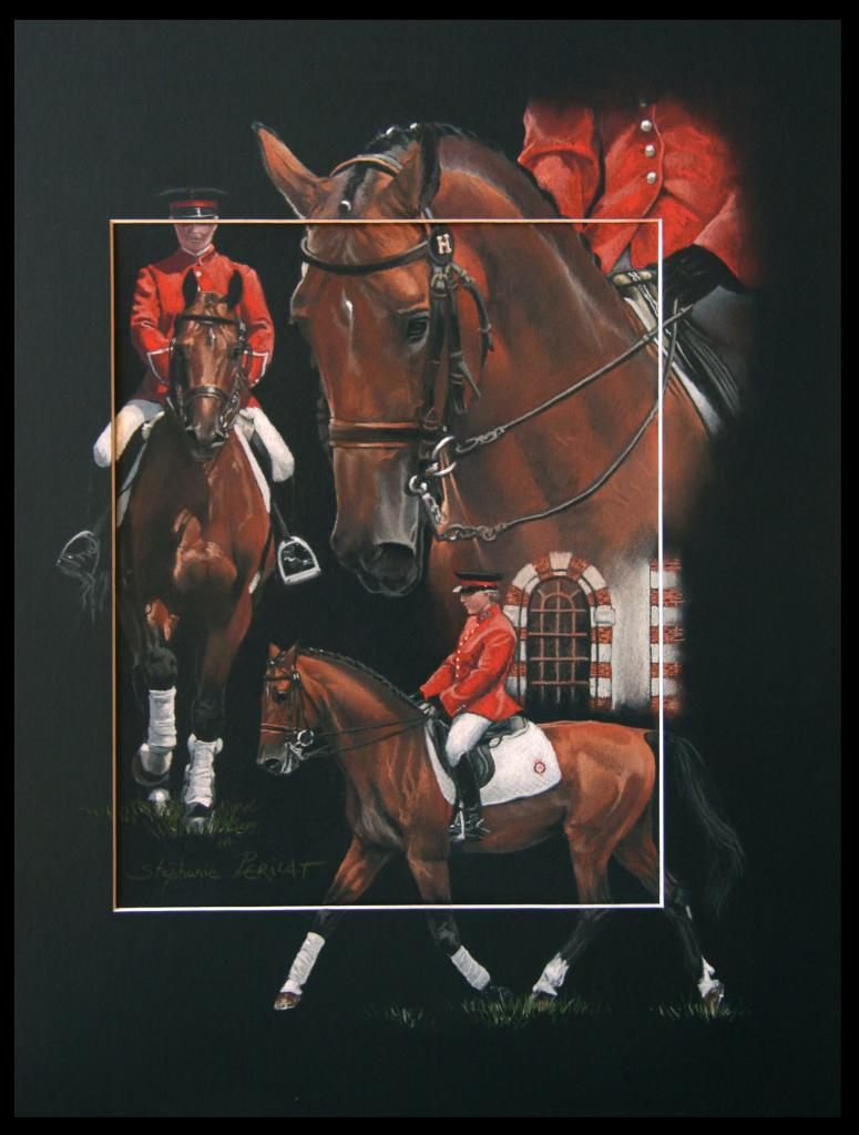 CHEF ROUGE, ETALON NATIONAL AU DRESSAGE (national stallion in dressage) - pastel sec (soft pastel) - 40x50cm