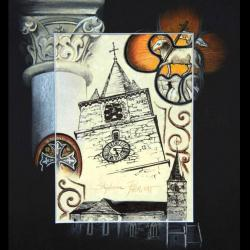 DOMJEAN, SON EGLISE (the church) - pastel sec et encre (soft pastel and ink) - 24x30cm