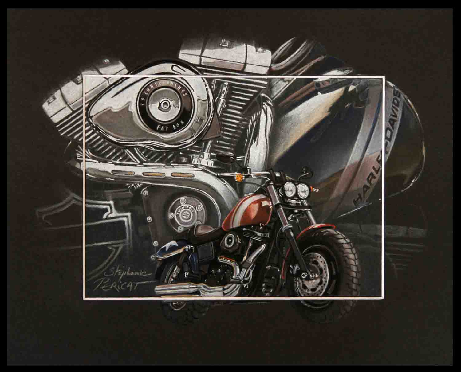 FAT BOB - pastel sec - 24x30cm - A V for sale