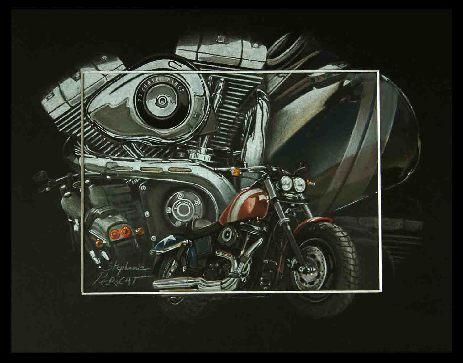 HARLEY DAVIDSON FAT BOB (2008-2015) - pastel sec(soft pastel)- 24x30cm - AV for sale