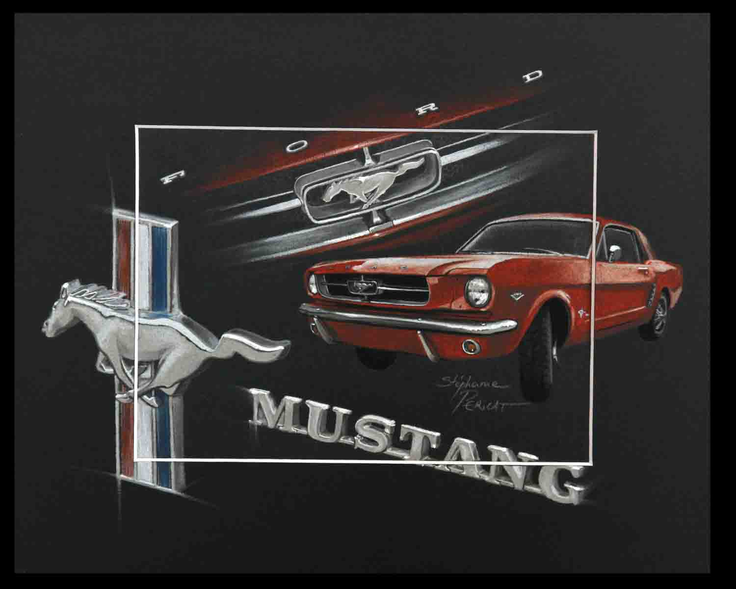 FORD MUSTANG ROUGE (red) - pastel sec (soft pastel) - 24x30cm - AV for sale