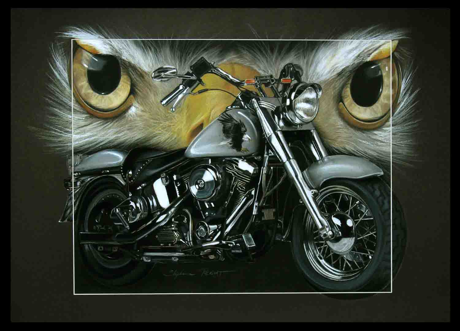 HARLEY DAVIDSON 1340 fatboy au pygargue (HD 1340 fatboy with bold eagle) - 50x70cm - A V for sale