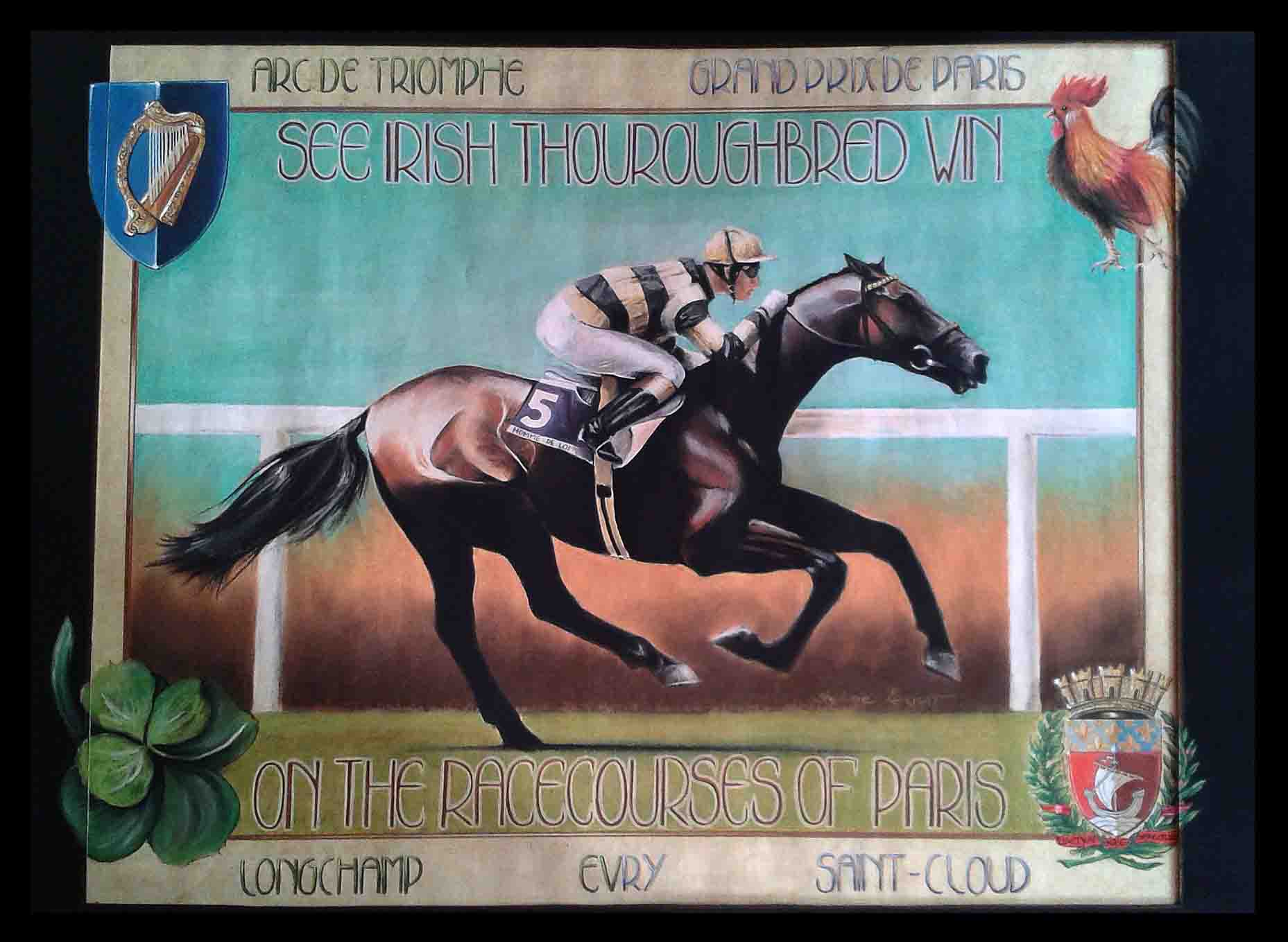 HOMME DE LOI, ETALON IRLANDAIS (irish stallion) - pastel sec et encre (soft pastel and ink) - 50x70cm - A V for sale