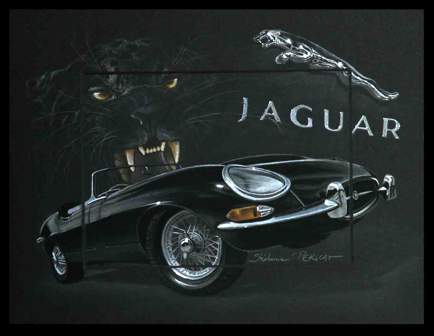Jaguar Type E (jaguar E-type) - pastel sec (soft pastel) - 24x30cm - Av for sale