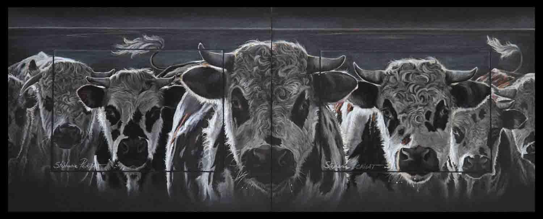 jeunes taureaux normands (young normans bulls) - pastel sec (soft pastel) - diptyque (diptych) 24x30cm