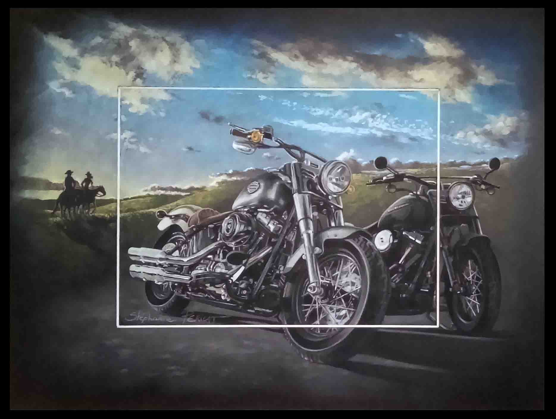 JUST RIDE PASSION - pastel sec (soft pastel) - 30x40cm