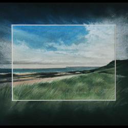LE PLATE DEPUIS DIELETTE (sea in dielette) - pastel sec (soft pastel) - 24x30cm