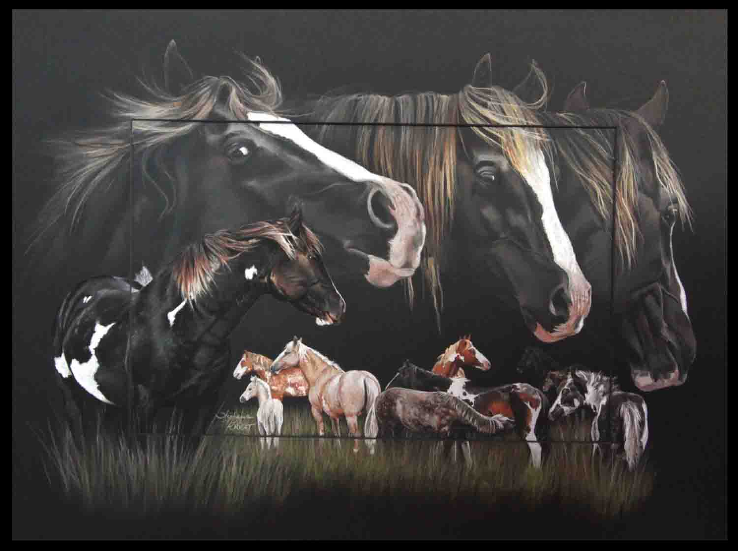 Majesty, mustang stallion - pastel sec - 50x70cm - A V for sale