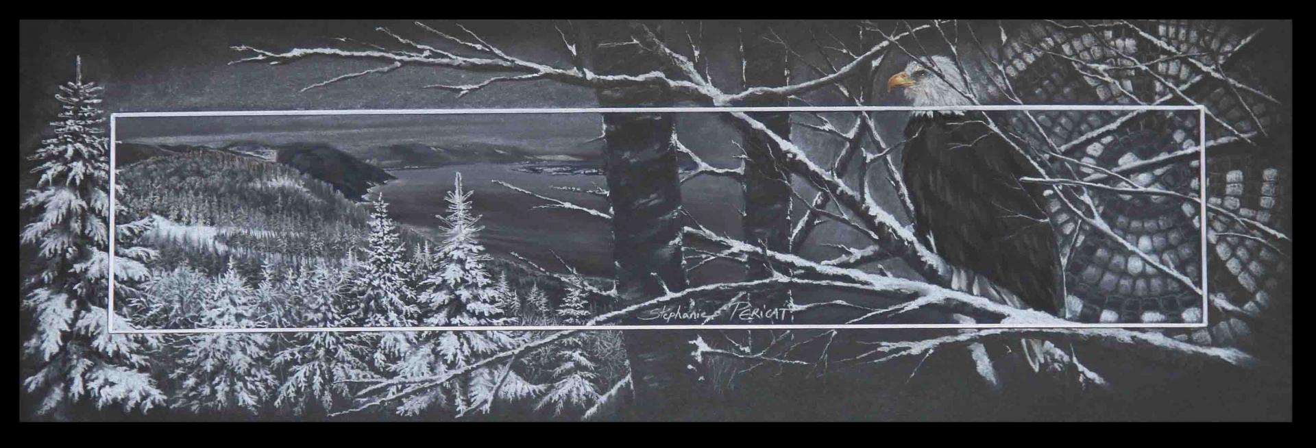 Megahzeh, pygargue dans le massif Maillard, Charlevoix, Québec - pastel sec - 20x50cm - AV for sale