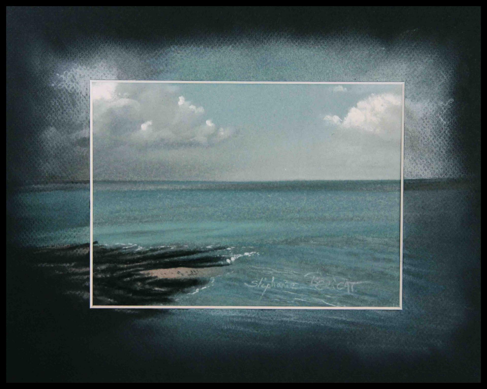 MER DES HAUTEURS DE GRANVILLE (sea at granville) - pastel sec (soft pastel) - 24x30cm
