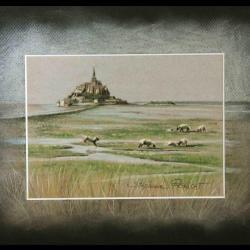 MONT SAINT MICHEL ET TOMBELAINE - pastel sec (soft pastel) - 24x30cm