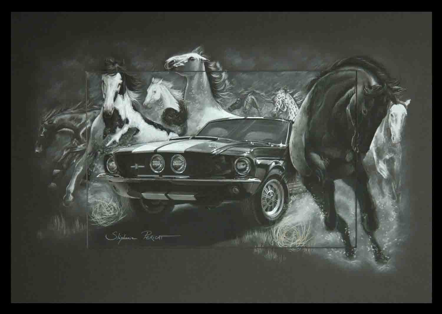 Mustangs - pastel sec - 50x70cm - AV for sale