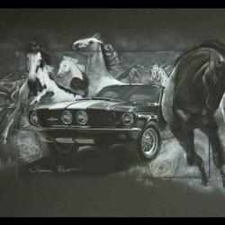 MUSTANGS - pastel sec (soft pastel) - 50x70cm - AV for sale