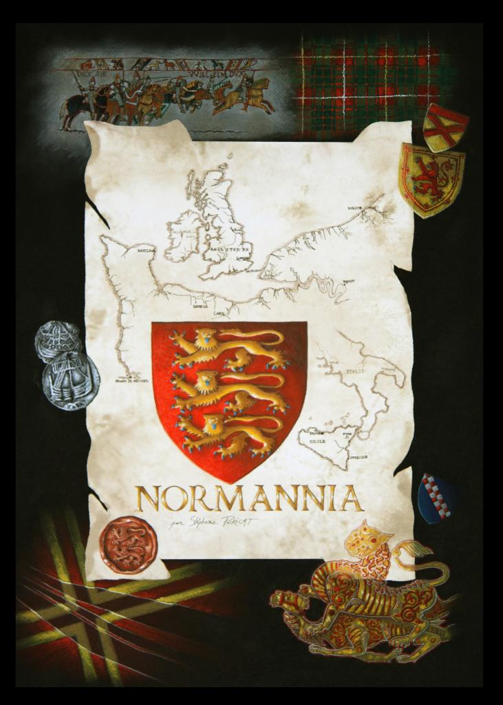 NORMANNIA, HISTOIRE DE LA NORMANDIE (history of the Normandy) - pastel sec et encre (soft pastel and ink) - 40x60cm