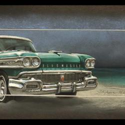 "OLDSMOBILE ""MIAMI BEACH"" - pastel sec (soft pastel) - 20x60cm - AV for sale"