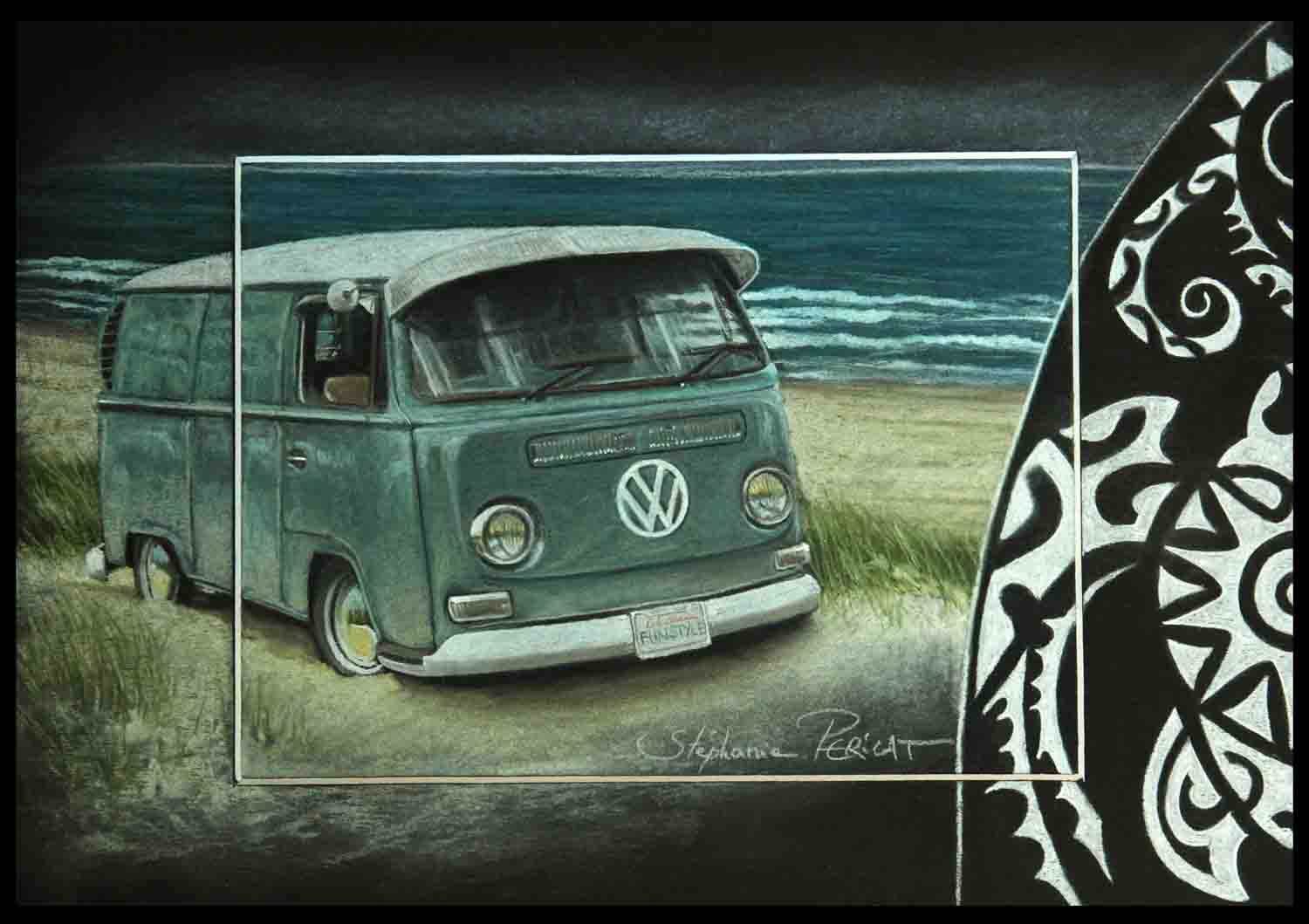 On the Beach, Combi VW - 20x30 cm - AV for sale