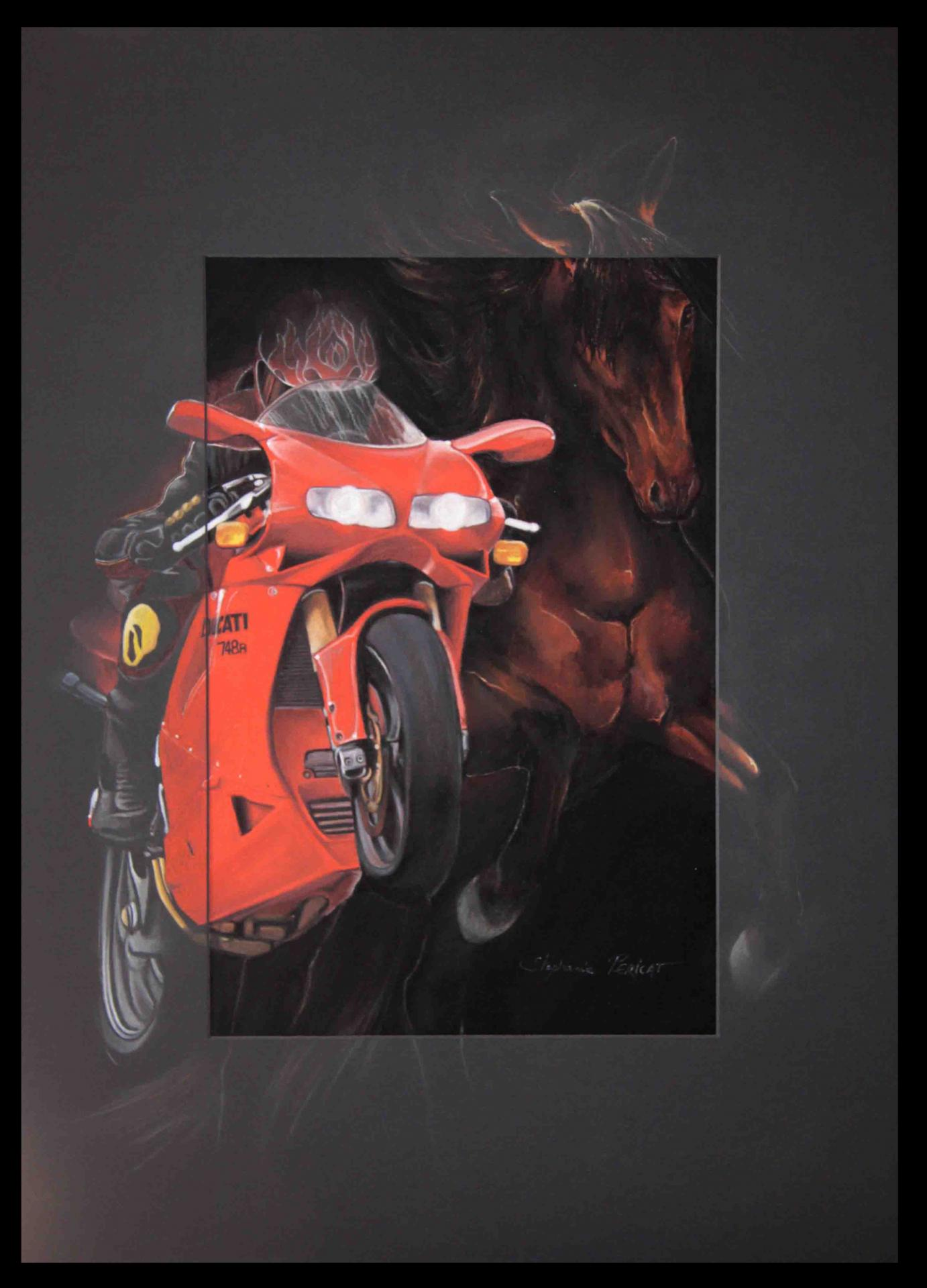 PASSIONS (ducati 748R et cheval - bike and horse) -  50x70cm
