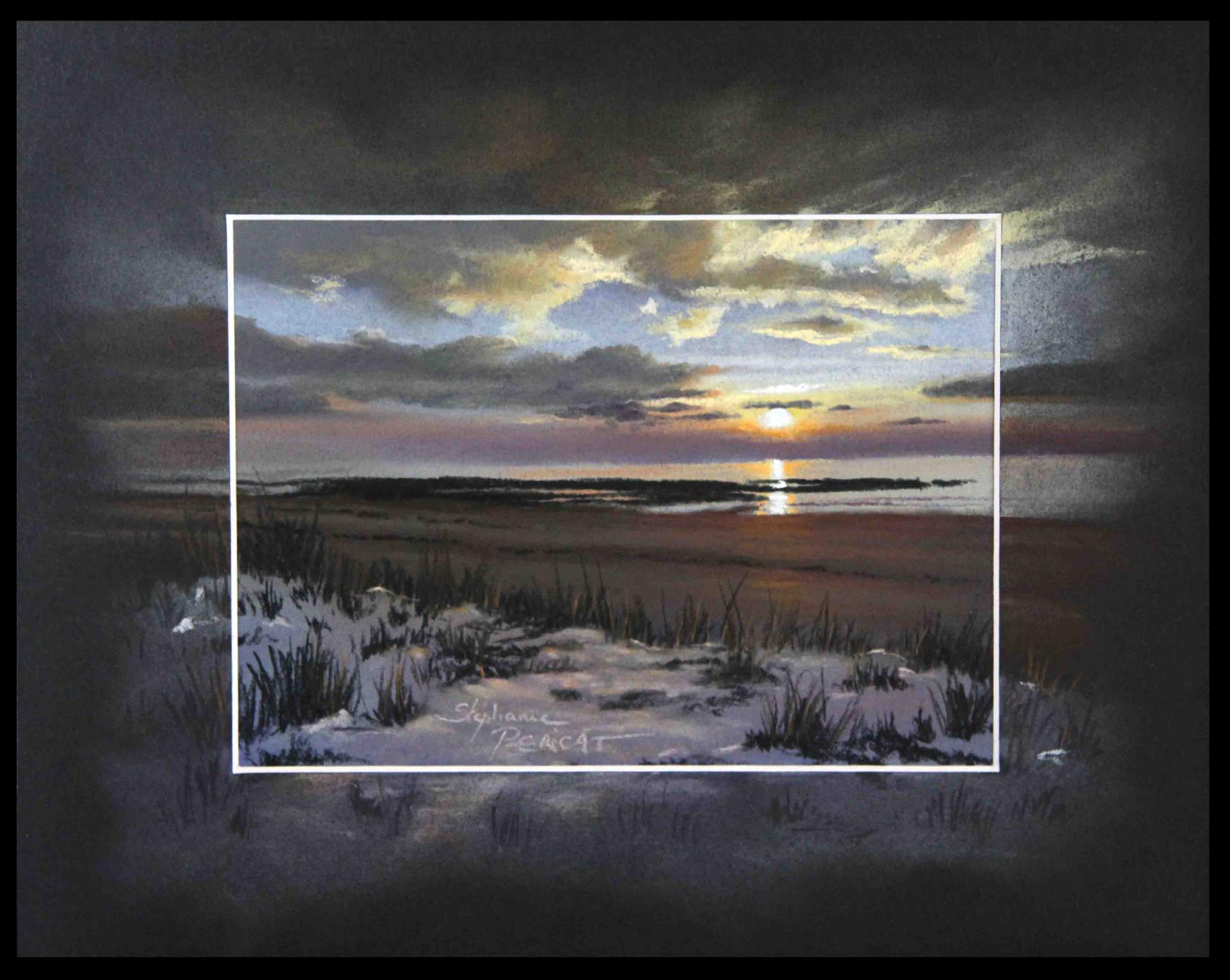 PLAGE DU HAUT DY EN HIVER (beach in winter near saint germain sur ay) - pastel sec (soft pastel) - 24x30cm