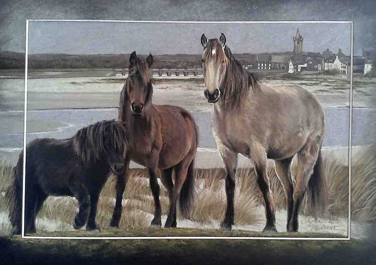 PORT-BAIL ET CHEVAUX (Port-bail and horses) - pastel sec (soft pastel) - 30x40cm