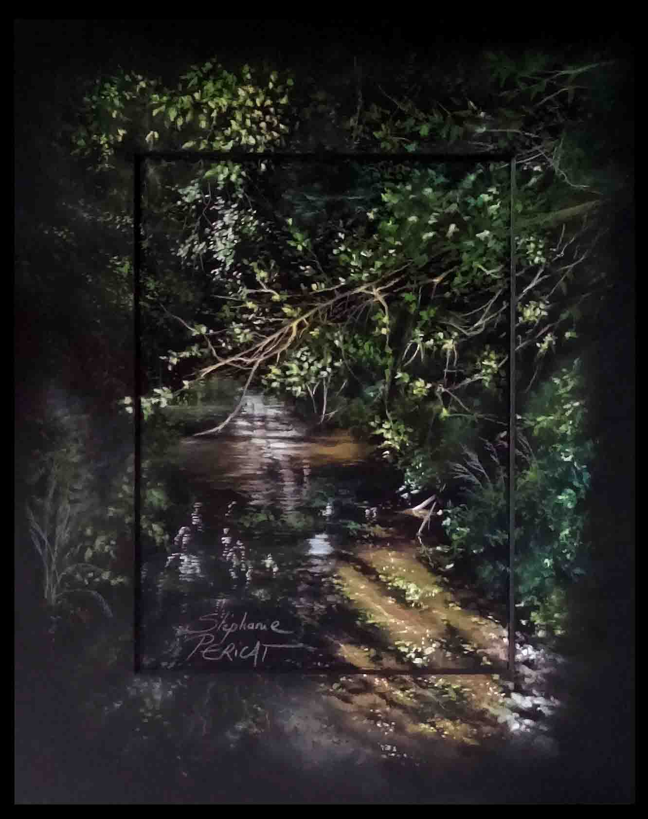 rivière l'ay à bretteville sur ay - pastel sec (soft pastel) - 24x30cm