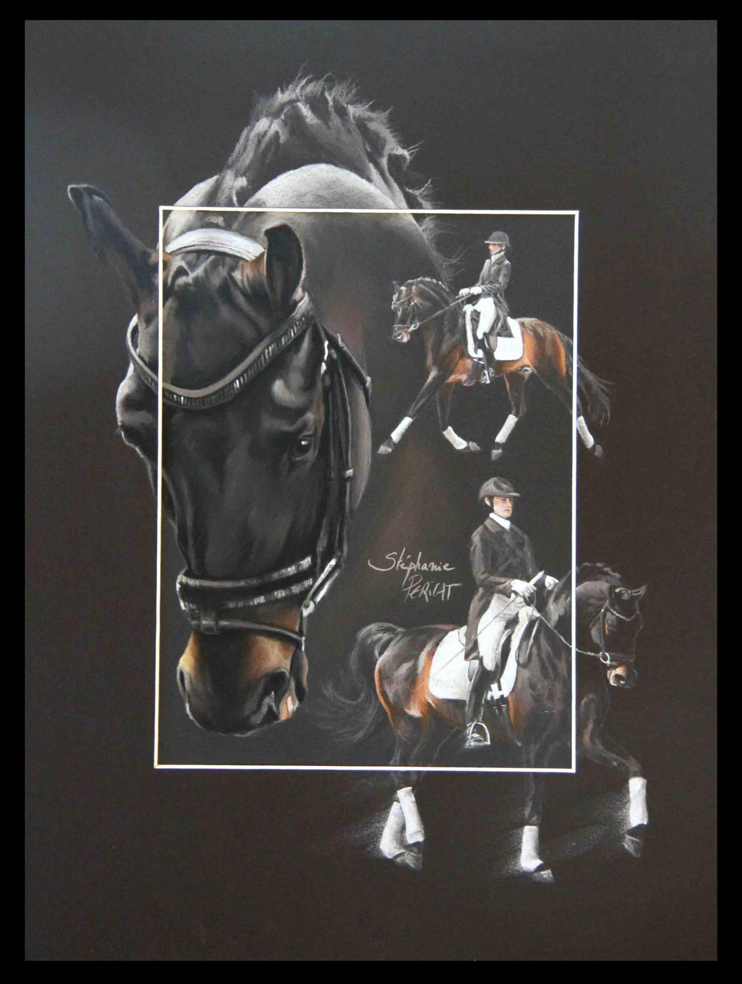 SANDREO ETALON AU DRESSAGE (stallion in dressage) - pastel sec (soft pastel) - 30x40cm - A V for sale