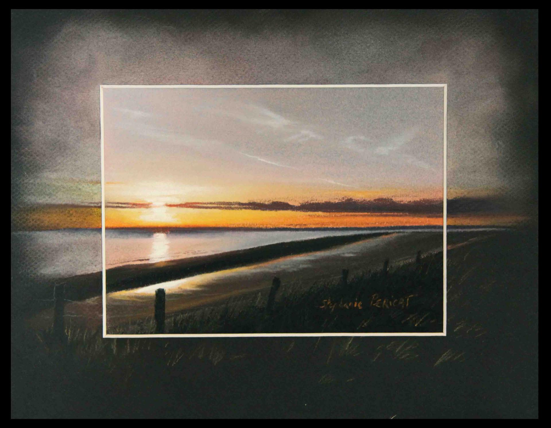 SOLEIL LEVANT A UTAH BEACH (living sun at utah beach) - pastel sec (soft pastel) - 24x30cm