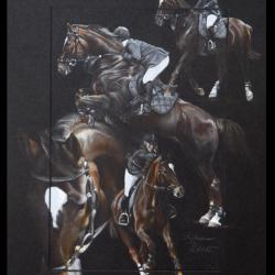 TOUCHABLE, ETALON AU CSO (stallion in jumping) - pastel sec (soft pastel) - 30x40cm