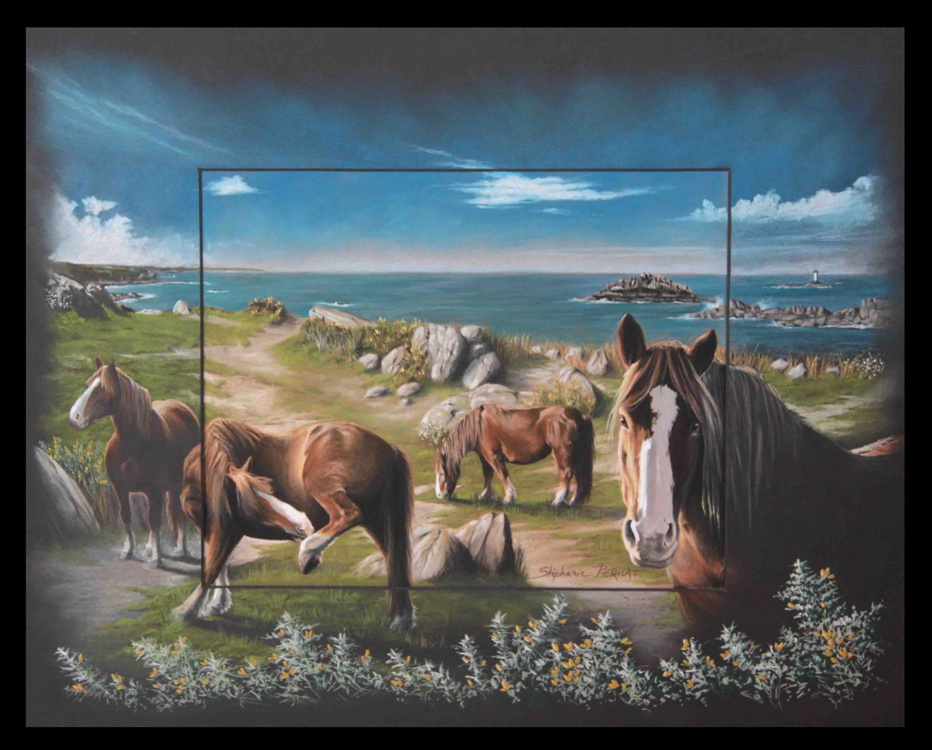 UR GAZEG BREIZH (une jument de Bretagne - a mare of Brittany) - pastel sec (soft pastel) - 40x50cm