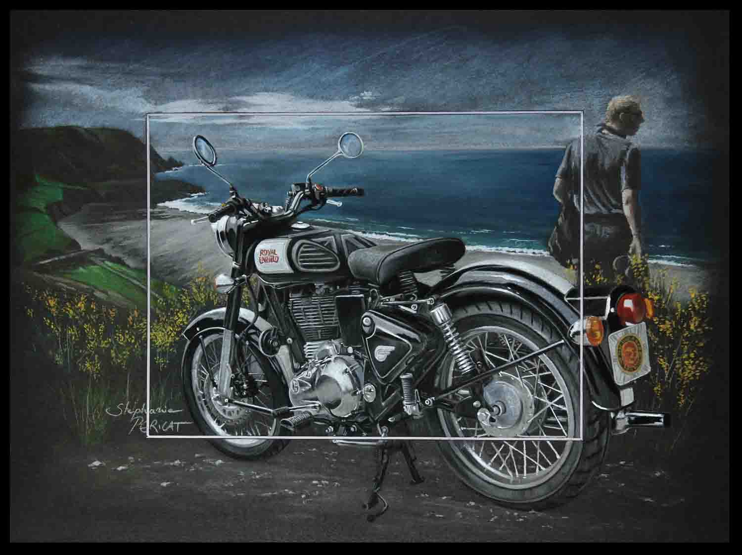 Vintage Riding (royal enfield classic) - pastel sec (soft pastel) - 30x40cm - AV for sale