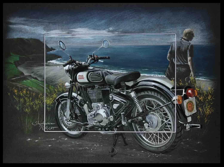 Vintage Riding (royal enfield classic) - pastel sec (soft pastel) - 30x40cm