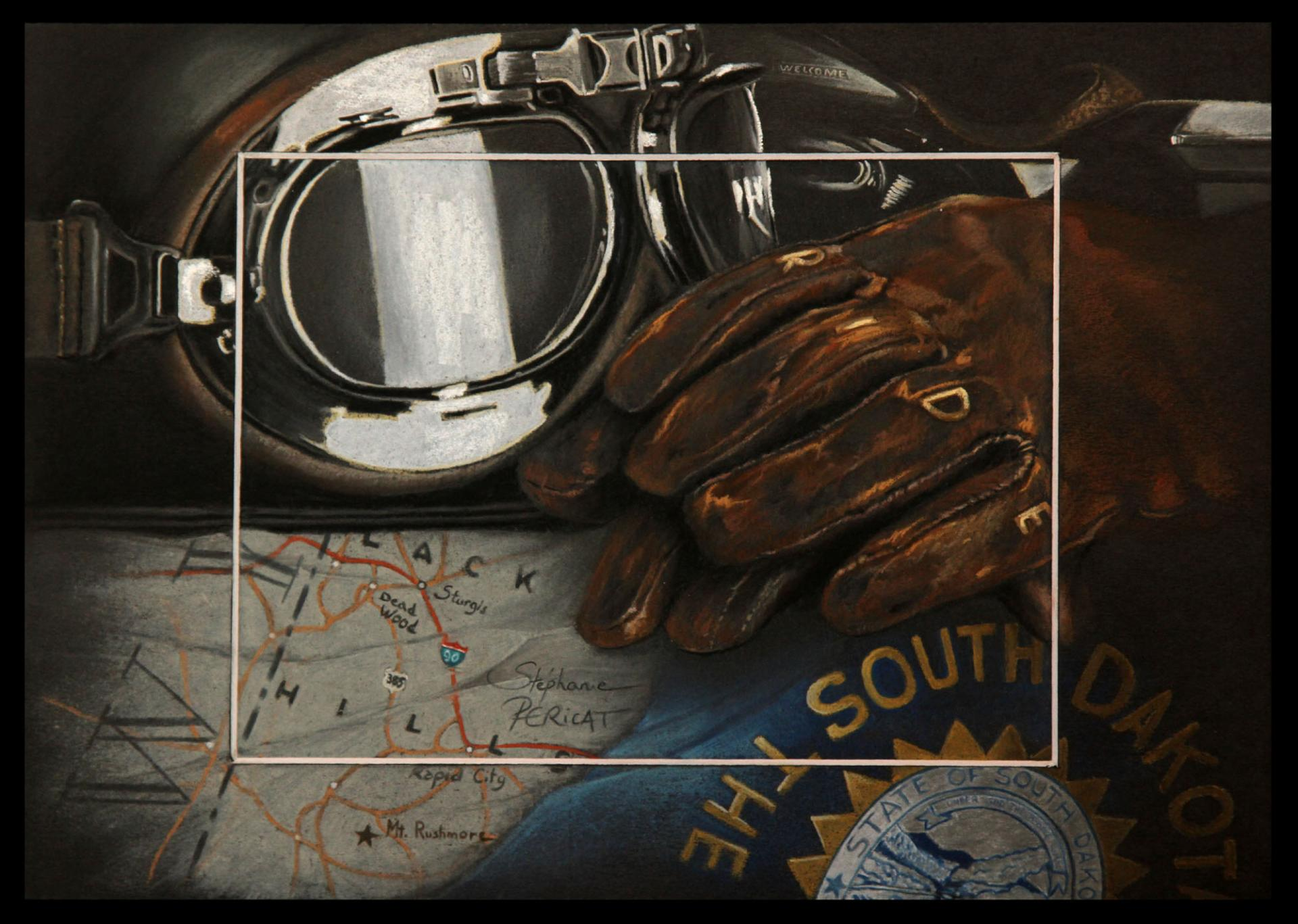 WELCOME RIDERS (bienvenue les motards) -pastel sec (soft pastel) - 20x30cm - AV for sale