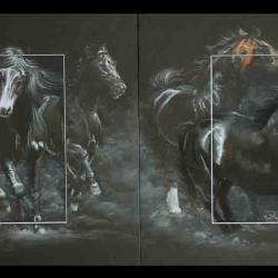 yaentowanenh, galop originel ( the origin of canadian horse) - pastel sec (soft pastel) - 2 x 40x50cm - AV for sale
